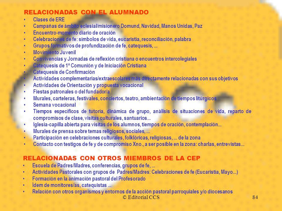 © Editorial CCS84 RELACIONADAS CON EL ALUMNADO Clases de ERE Campañas de ámbito eclesial/misionero Domund, Navidad, Manos Unidas, Paz Encuentro-moment