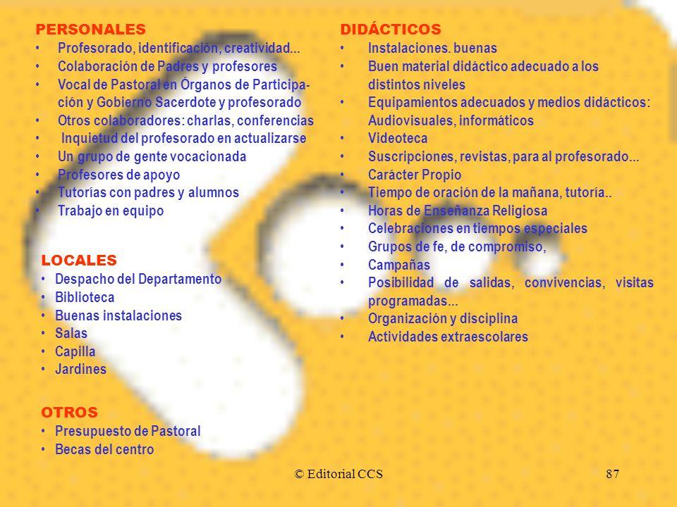 © Editorial CCS87 PERSONALES Profesorado, identificación, creatividad... Colaboración de Padres y profesores Vocal de Pastoral en Órganos de Participa