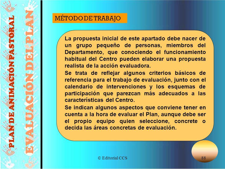 © Editorial CCS88 PLAN DE ANIMACIÓN PASTORAL EVALUACIÓN DEL PLAN La propuesta inicial de este apartado debe nacer de un grupo pequeño de personas, mie