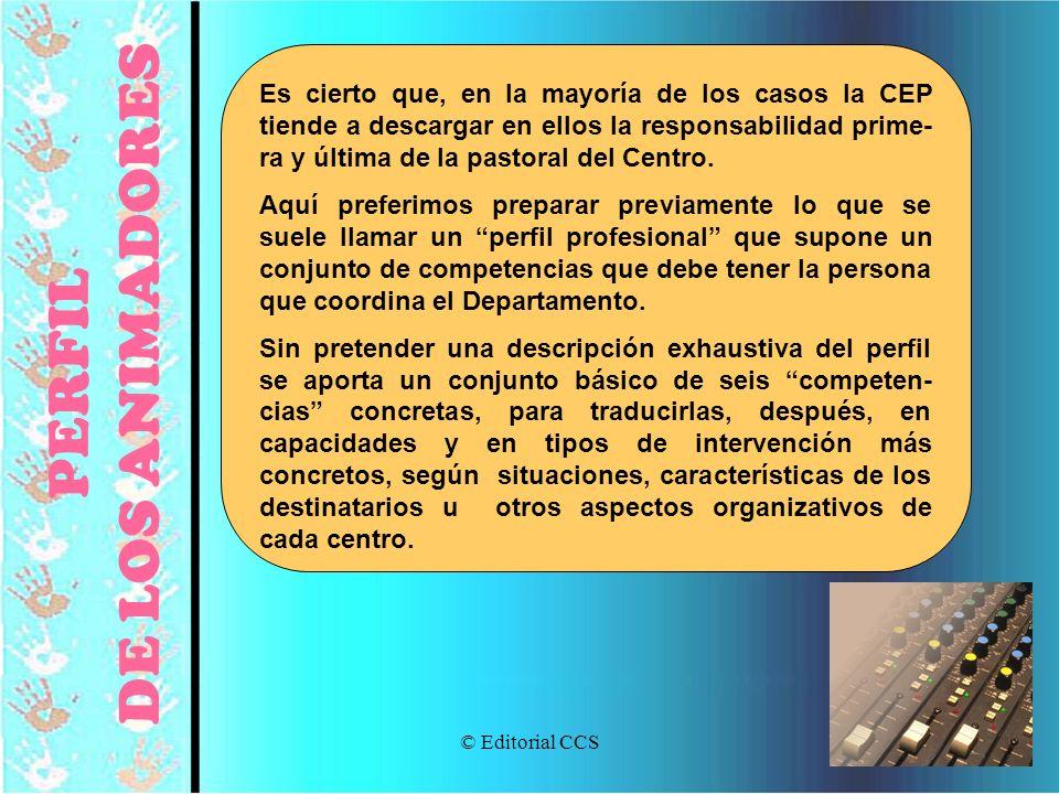 © Editorial CCS92 PERFIL DE LOS ANIMADORES Es cierto que, en la mayoría de los casos la CEP tiende a descargar en ellos la responsabilidad prime- ra y