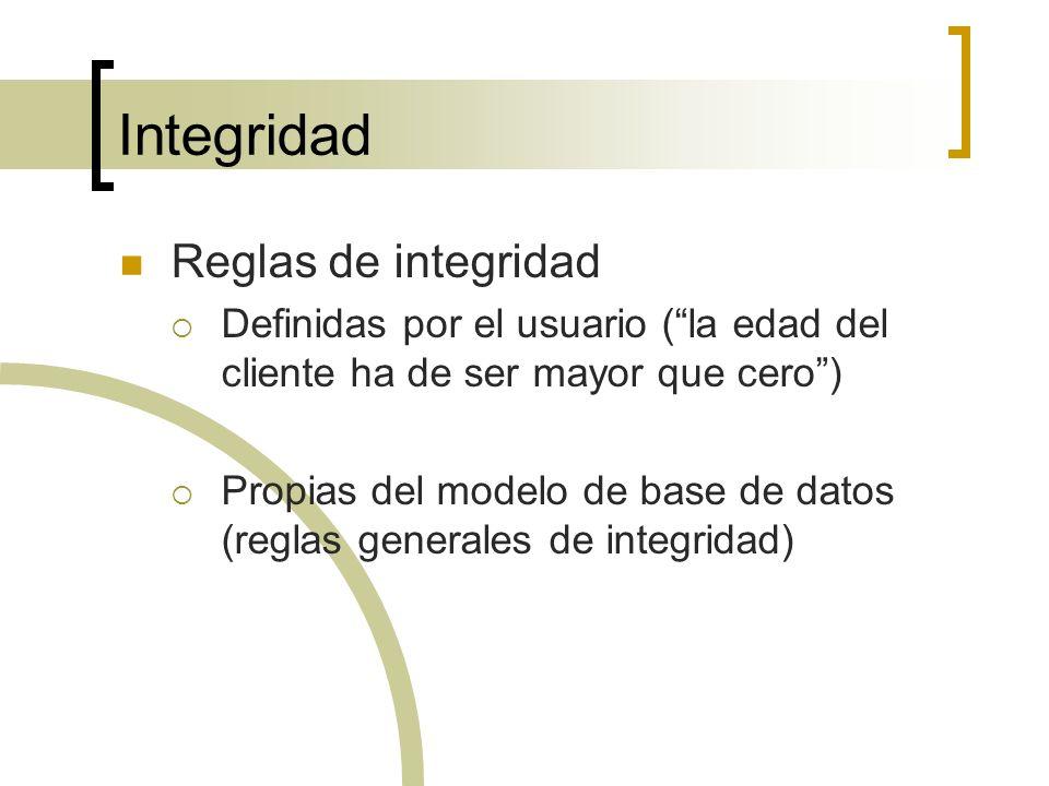 Integridad Reglas de integridad Definidas por el usuario (la edad del cliente ha de ser mayor que cero) Propias del modelo de base de datos (reglas ge