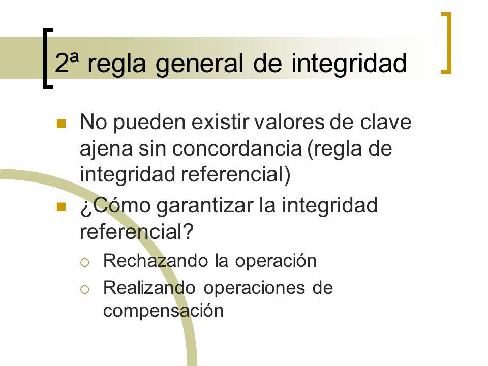 2ª regla general de integridad No pueden existir valores de clave ajena sin concordancia (regla de integridad referencial) ¿Cómo garantizar la integri