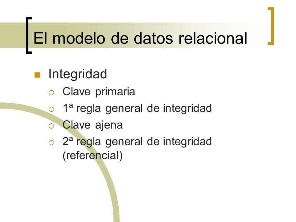 El modelo de datos relacional Integridad Clave primaria 1ª regla general de integridad Clave ajena 2ª regla general de integridad (referencial)