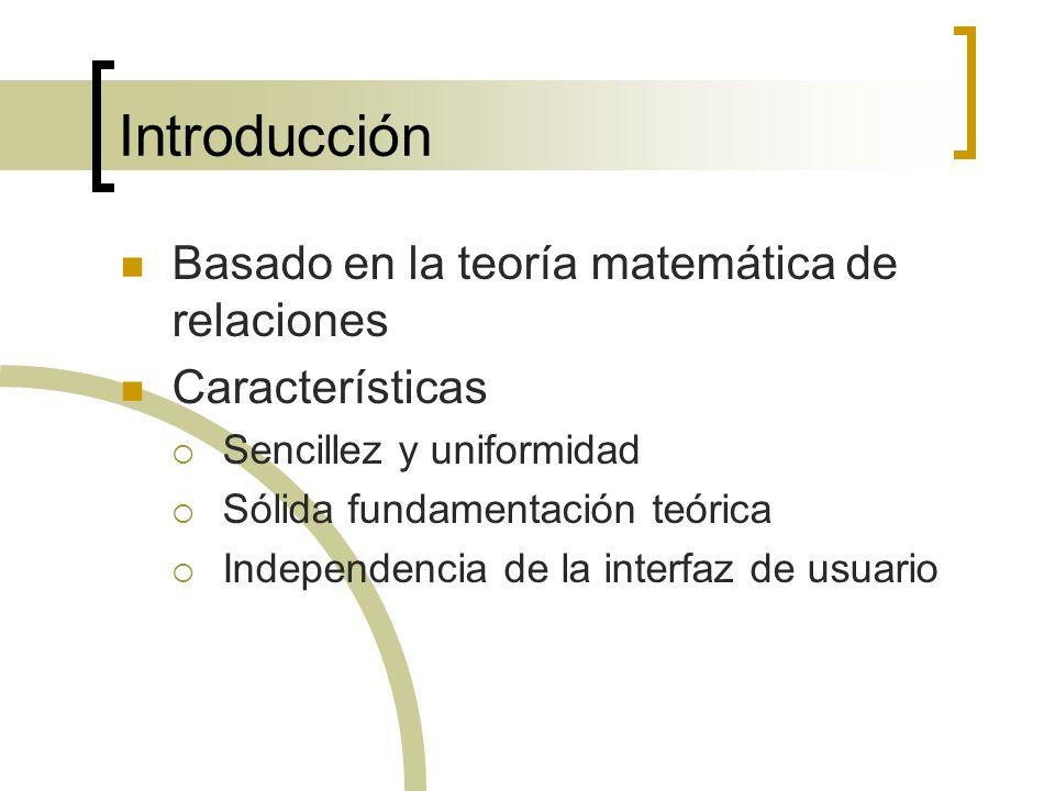 Introducción Basado en la teoría matemática de relaciones Características Sencillez y uniformidad Sólida fundamentación teórica Independencia de la in
