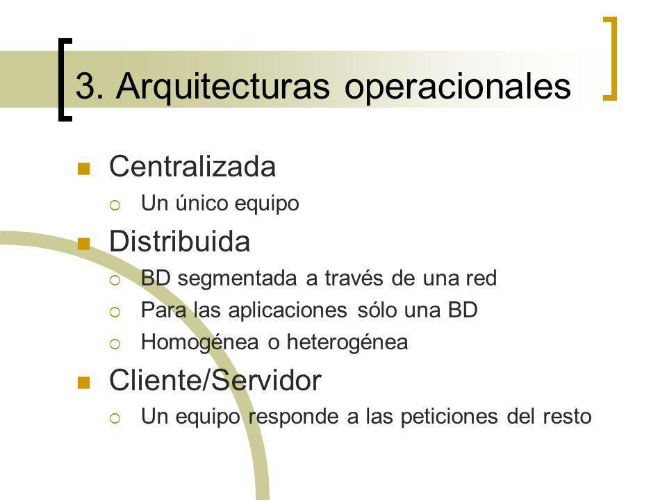 3. Arquitecturas operacionales Centralizada Un único equipo Distribuida BD segmentada a través de una red Para las aplicaciones sólo una BD Homogénea