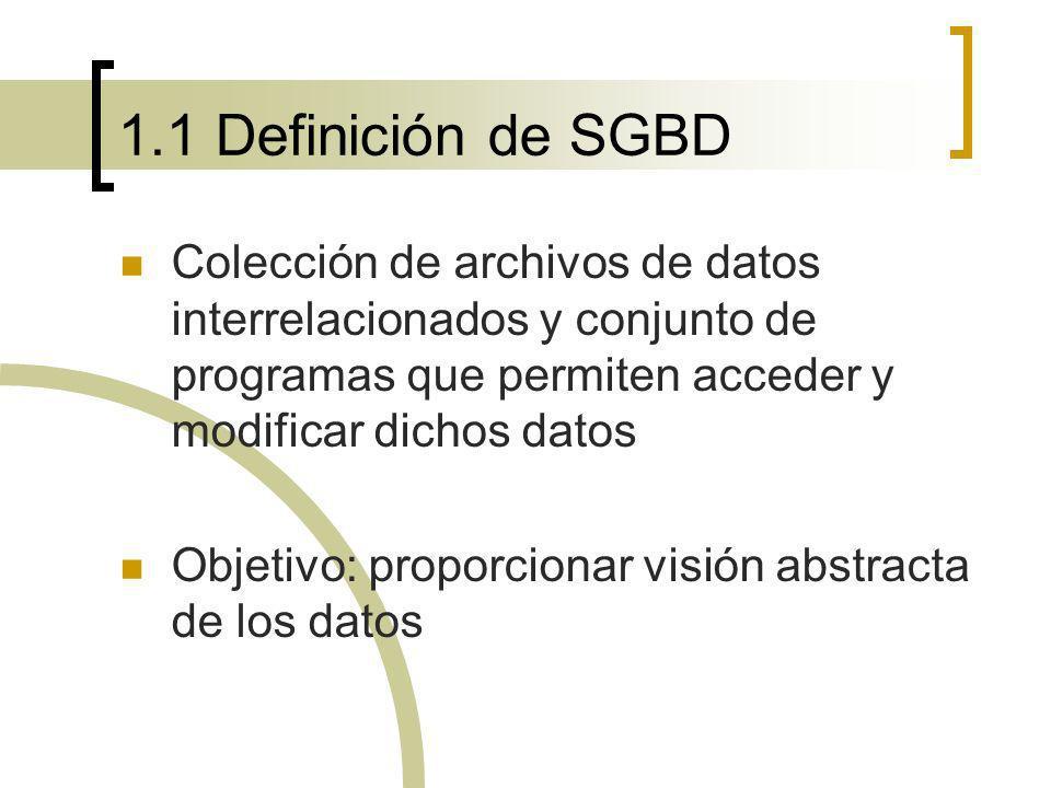 1.1 Definición de SGBD Colección de archivos de datos interrelacionados y conjunto de programas que permiten acceder y modificar dichos datos Objetivo
