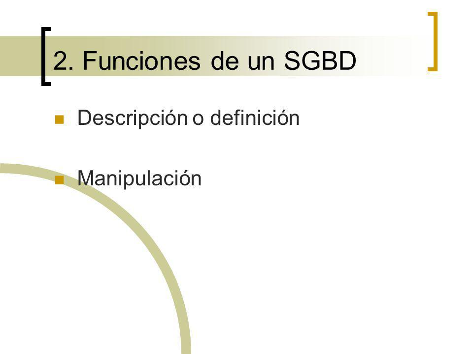 2. Funciones de un SGBD Descripción o definición Manipulación