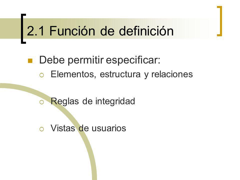 2.1 Función de definición Lenguaje de definición de datos (LDD) Nivel interno: longitud de campos, tipo de datos, índices, … Nivel conceptual y externo: definición de entidades, atributos y relaciones