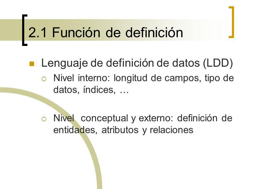 2.1 Función de definición Lenguaje de definición de datos (LDD) Nivel interno: longitud de campos, tipo de datos, índices, … Nivel conceptual y extern