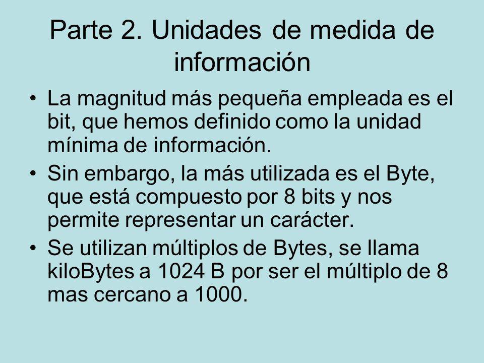 Parte 2. Unidades de medida de información La magnitud más pequeña empleada es el bit, que hemos definido como la unidad mínima de información. Sin em