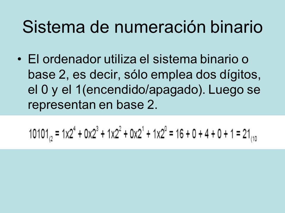 Sistema de numeración binario El ordenador utiliza el sistema binario o base 2, es decir, sólo emplea dos dígitos, el 0 y el 1(encendido/apagado). Lue