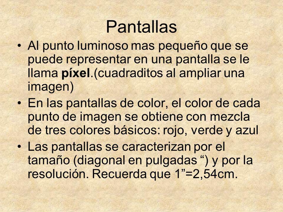 Pantallas Al punto luminoso mas pequeño que se puede representar en una pantalla se le llama píxel.(cuadraditos al ampliar una imagen) En las pantalla