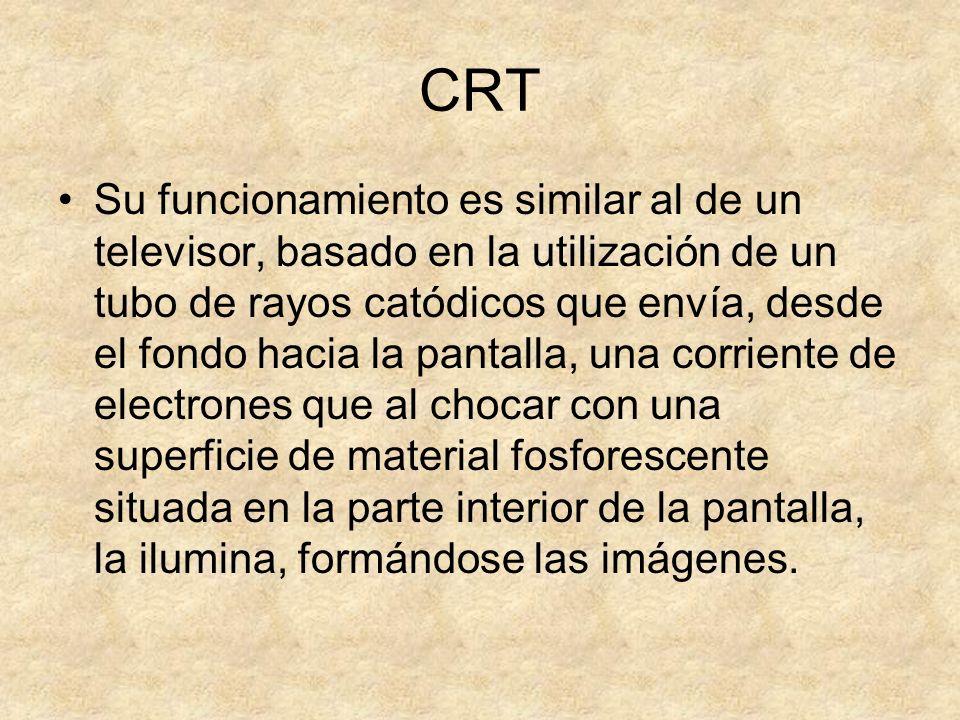 CRT Su funcionamiento es similar al de un televisor, basado en la utilización de un tubo de rayos catódicos que envía, desde el fondo hacia la pantall