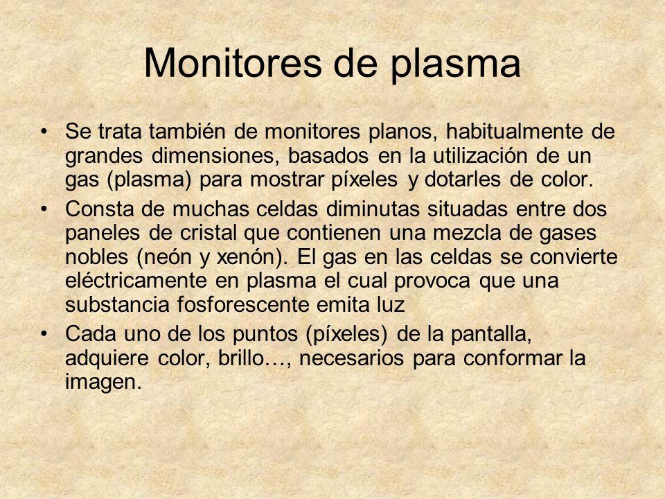 Monitores de plasma Se trata también de monitores planos, habitualmente de grandes dimensiones, basados en la utilización de un gas (plasma) para most