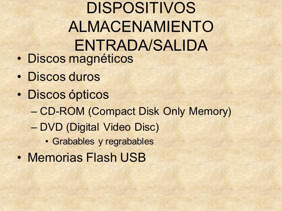 DISPOSITIVOS ALMACENAMIENTO ENTRADA/SALIDA Discos magnéticos Discos duros Discos ópticos –CD-ROM (Compact Disk Only Memory) –DVD (Digital Video Disc)