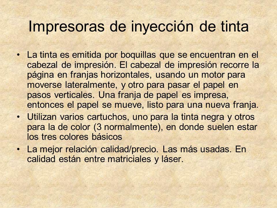 Impresoras de inyección de tinta La tinta es emitida por boquillas que se encuentran en el cabezal de impresión. El cabezal de impresión recorre la pá