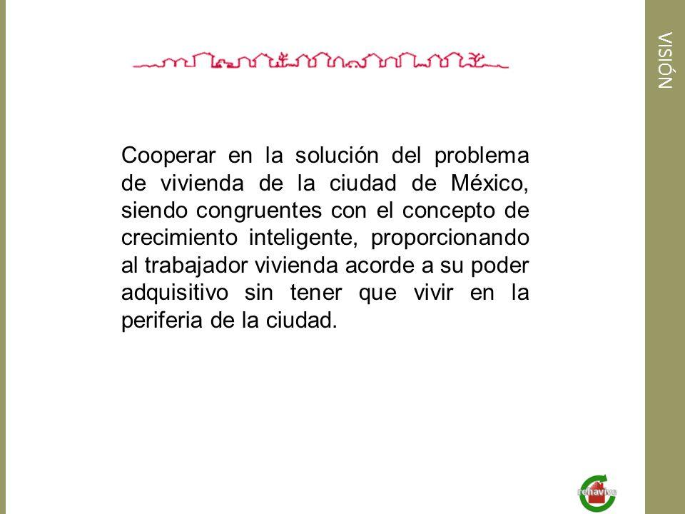 VISIÓN Cooperar en la solución del problema de vivienda de la ciudad de México, siendo congruentes con el concepto de crecimiento inteligente, proporc