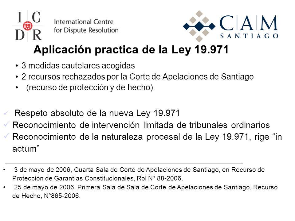 Aplicación practica de la Ley 19.971 Respeto absoluto de la nueva Ley 19.971 Reconocimiento de intervención limitada de tribunales ordinarios Reconocimiento de la naturaleza procesal de la Ley 19.971, rige in actum ____________________________________________________ 3 de mayo de 2006, Cuarta Sala de Corte de Apelaciones de Santiago, en Recurso de Protección de Garantías Constitucionales, Rol Nº 88-2006.