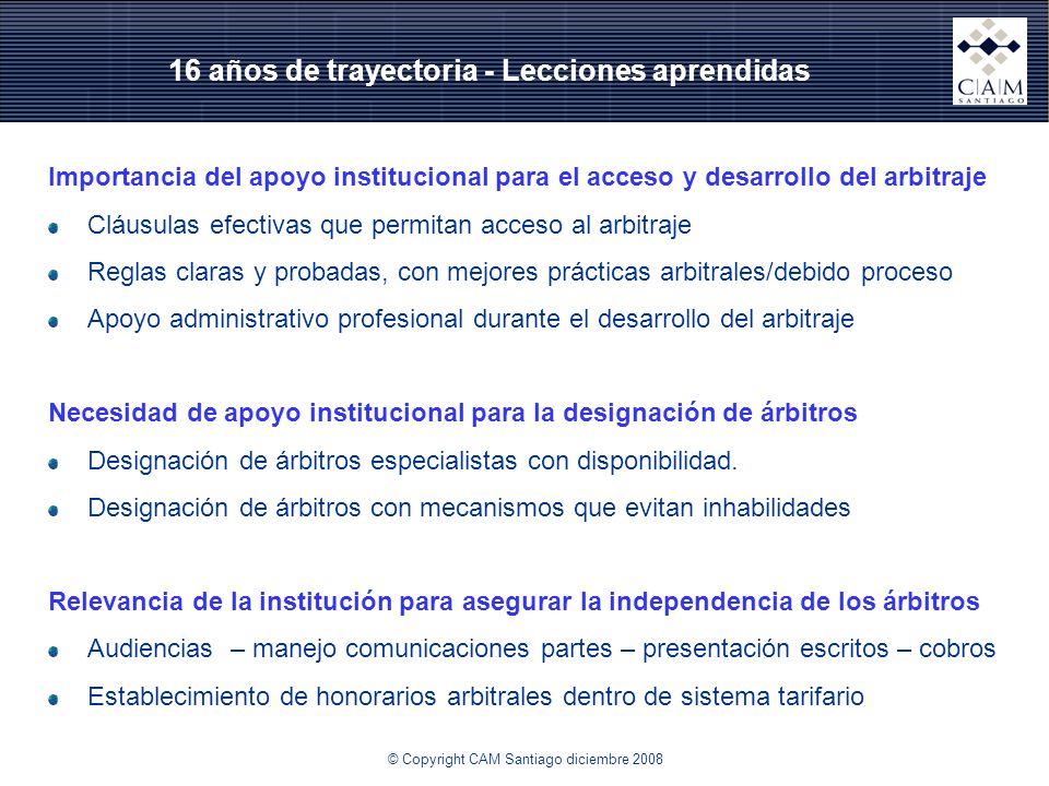 16 años de trayectoria - Lecciones aprendidas Importancia del apoyo institucional para el acceso y desarrollo del arbitraje Cláusulas efectivas que pe