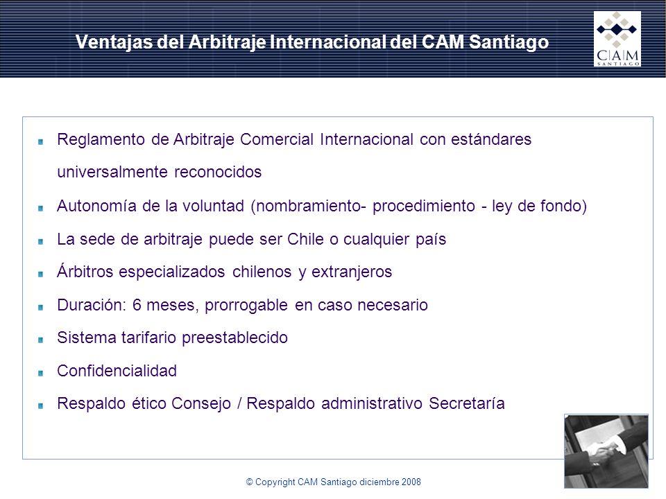 Ventajas del Arbitraje Internacional del CAM Santiago Reglamento de Arbitraje Comercial Internacional con estándares universalmente reconocidos Autono