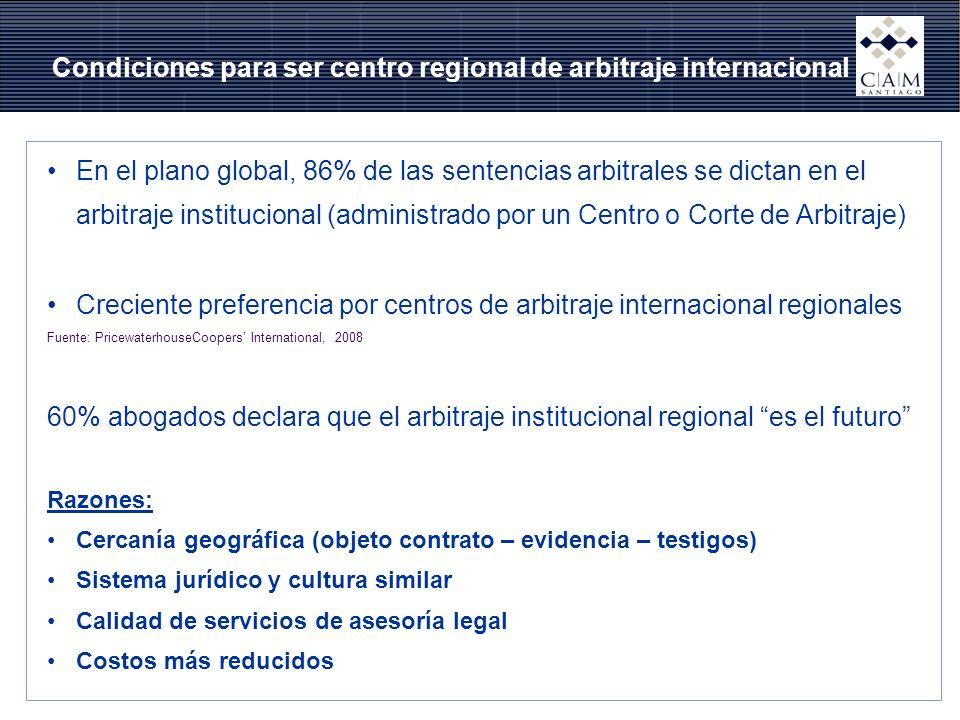 Condiciones para ser centro regional de arbitraje internacional En el plano global, 86% de las sentencias arbitrales se dictan en el arbitraje institu
