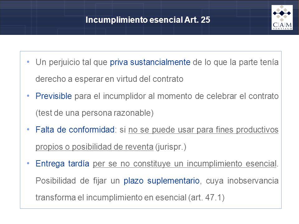 Incumplimiento esencial Art. 25 Un perjuicio tal que priva sustancialmente de lo que la parte tenía derecho a esperar en virtud del contrato Previsibl