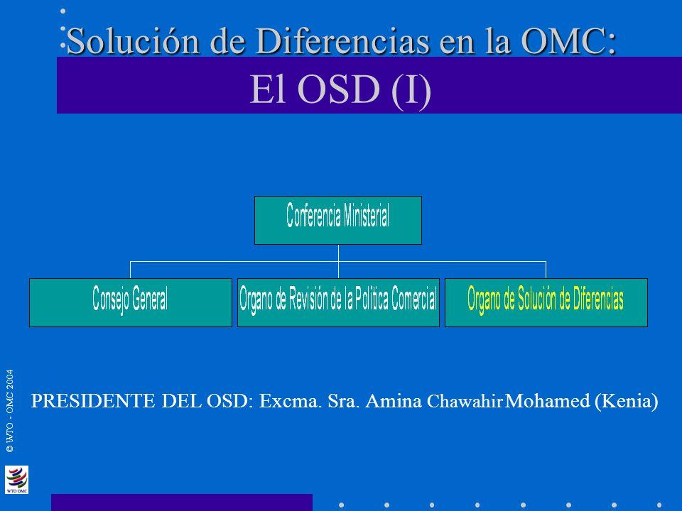 © WTO - OMC 2004 Solución de Diferencias en la OMC : Solución de Diferencias en la OMC : El OSD (I) PRESIDENTE DEL OSD: Excma. Sra. Amina Chawahir Moh