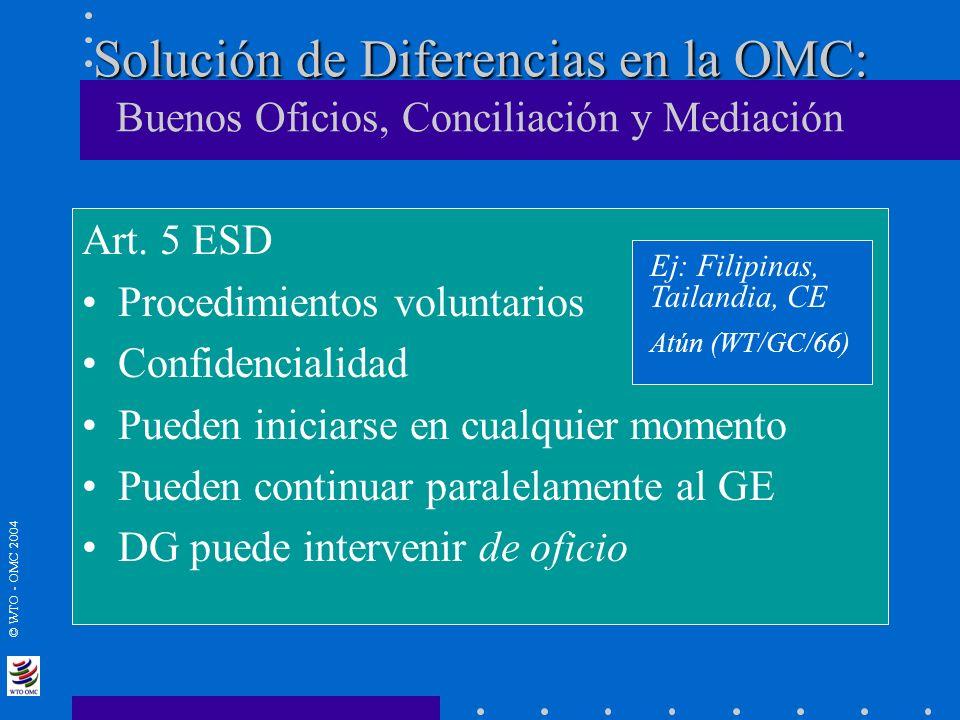 © WTO - OMC 2004 Solución de Diferencias en la OMC: Solución de Diferencias en la OMC: Buenos Oficios, Conciliación y Mediación Art. 5 ESD Procedimien