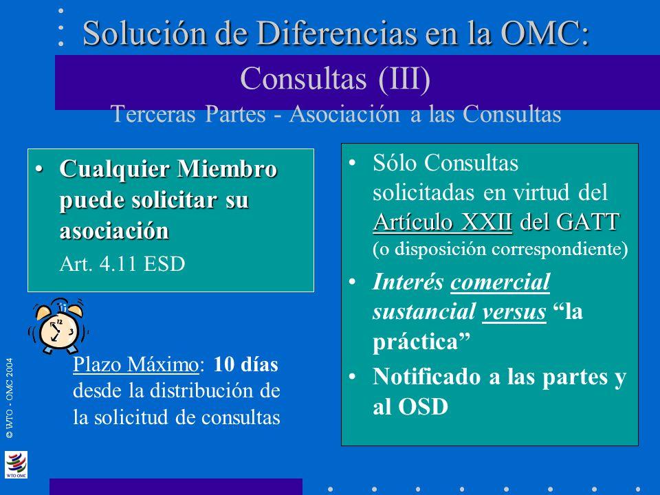 © WTO - OMC 2004 Solución de Diferencias en la OMC: Solución de Diferencias en la OMC: Consultas (III) Terceras Partes - Asociación a las Consultas Cu