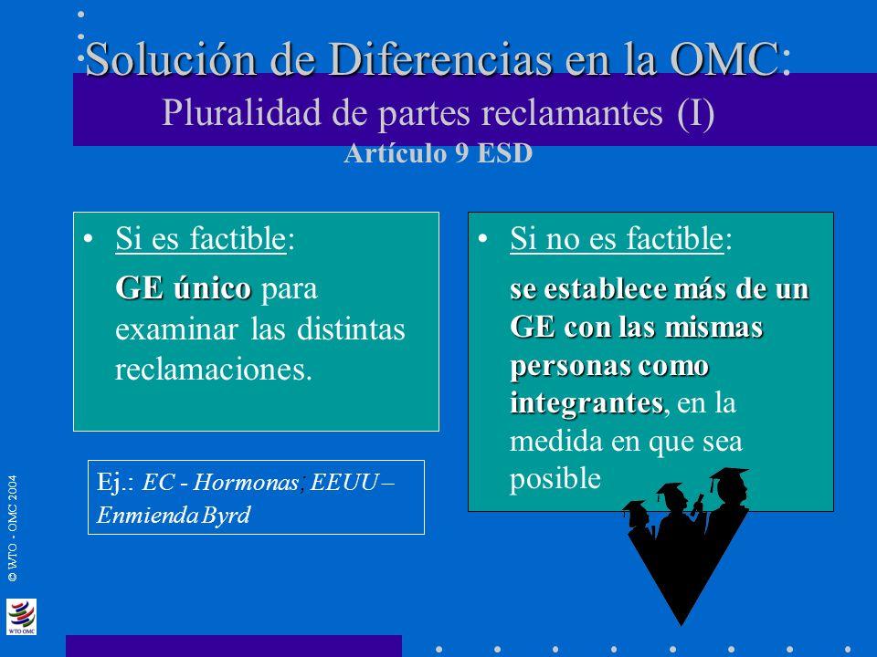 © WTO - OMC 2004 Solución de Diferencias en la OMC Solución de Diferencias en la OMC : Pluralidad de partes reclamantes (I) Artículo 9 ESD Si es facti