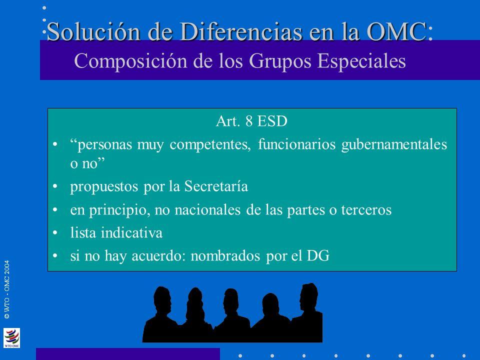 © WTO - OMC 2004 Solución de Diferencias en la OMC Solución de Diferencias en la OMC : Composición de los Grupos Especiales Art. 8 ESD personas muy co