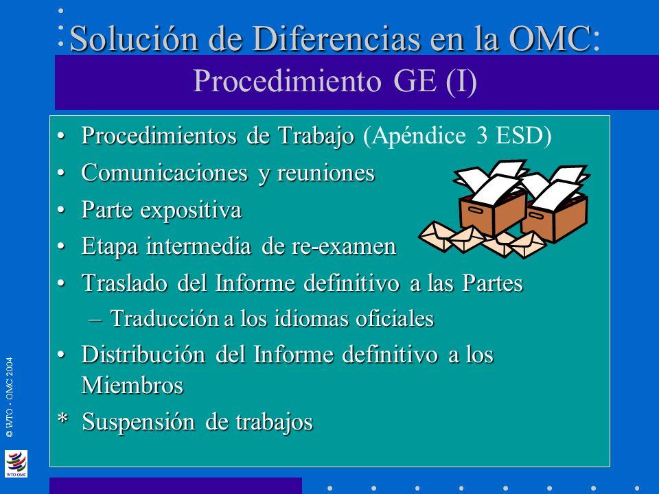 © WTO - OMC 2004 Solución de Diferencias en la OMC Solución de Diferencias en la OMC : Procedimiento GE (I) Procedimientos de TrabajoProcedimientos de