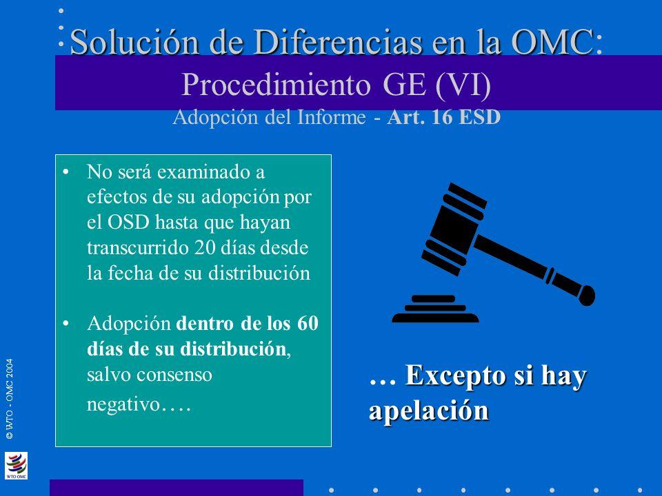 © WTO - OMC 2004 Solución de Diferencias en la OMC Solución de Diferencias en la OMC : Procedimiento GE (VI) Adopción del Informe - Art. 16 ESD No ser