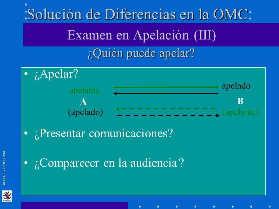© WTO - OMC 2004 Solución de Diferencias en la OMC ¿Quién puede apelar? Solución de Diferencias en la OMC : Examen en Apelación (III) ¿Quién puede ape