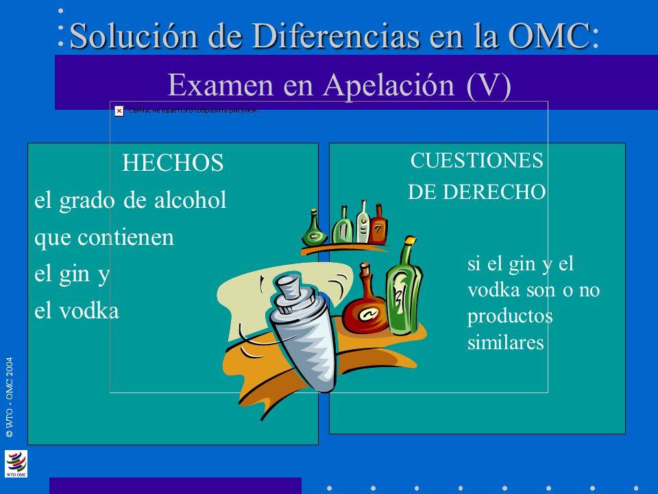 © WTO - OMC 2004 Solución de Diferencias en la OMC Solución de Diferencias en la OMC : Examen en Apelación (V) HECHOS el grado de alcohol que contiene