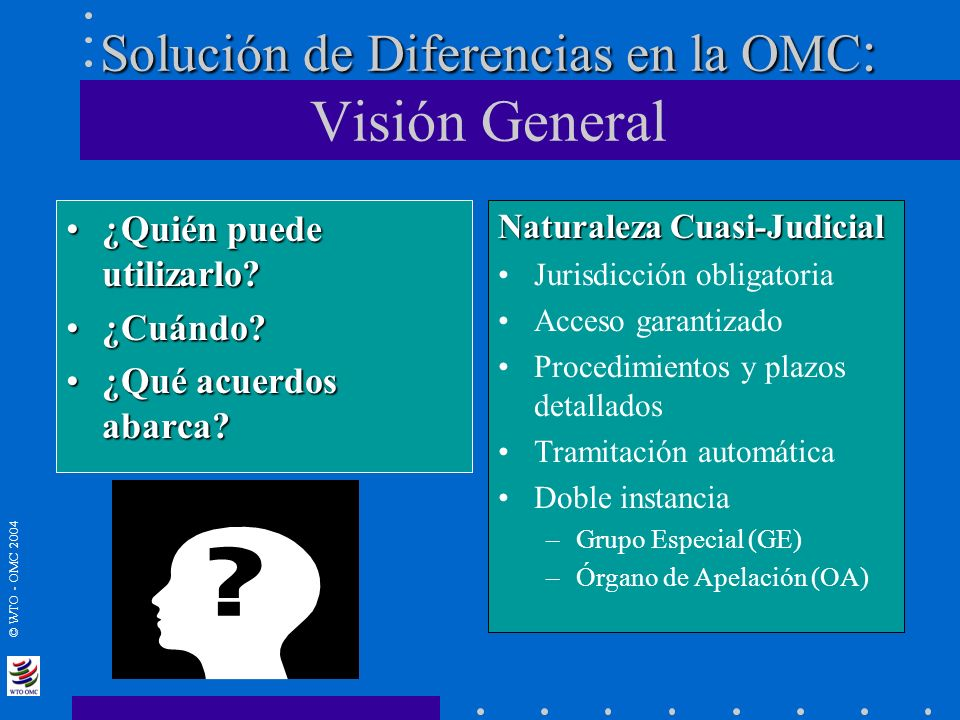 © WTO - OMC 2004 Solución de Diferencias en la OMC : Solución de Diferencias en la OMC : Visión General ¿Quién puede utilizarlo?¿Quién puede utilizarl