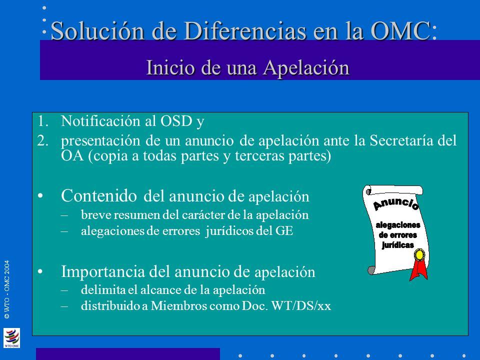 © WTO - OMC 2004 Solución de Diferencias en la OMC Inicio de una Apelación Solución de Diferencias en la OMC : Inicio de una Apelación 1.Notificación