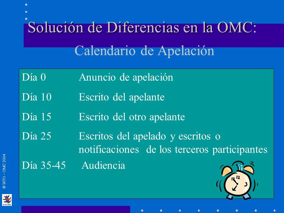 © WTO - OMC 2004 Solución de Diferencias en la OMC Solución de Diferencias en la OMC: Calendario de Apelación Día 0Anuncio de apelación Día 10Escrito