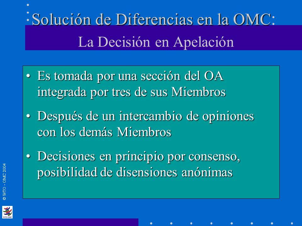 © WTO - OMC 2004 Solución de Diferencias en la OMC Solución de Diferencias en la OMC : La Decisión en Apelación Es tomada por una sección del OA integ