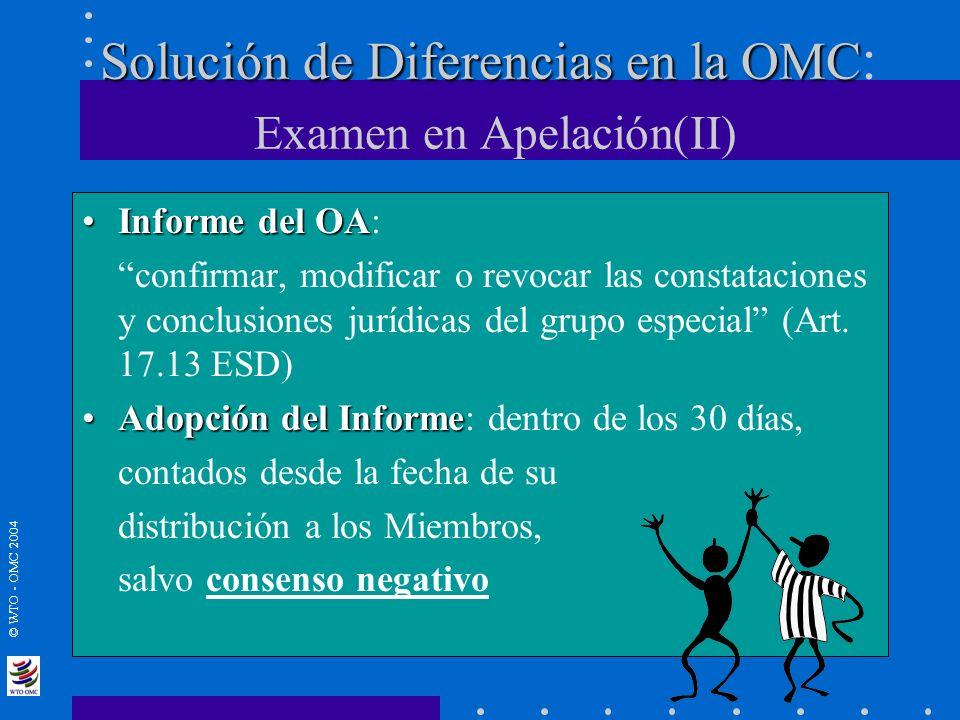 © WTO - OMC 2004 Solución de Diferencias en la OMC Solución de Diferencias en la OMC : Examen en Apelación(II) Informe del OAInforme del OA: confirmar