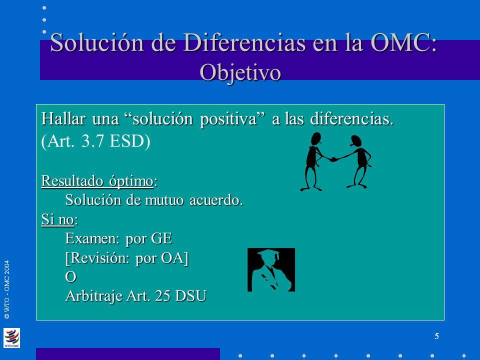 © WTO - OMC 2004 Solución de Diferencias en la OMC: Objetivo Solución de Diferencias en la OMC: Objetivo Hallar una solución positiva a las diferencia