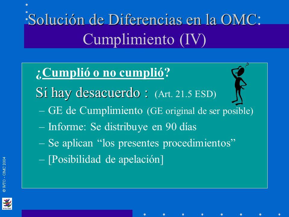 © WTO - OMC 2004 Solución de Diferencias en la OMC Solución de Diferencias en la OMC : Cumplimiento (IV) ¿Cumplió o no cumplió? Si hay desacuerdo : Si