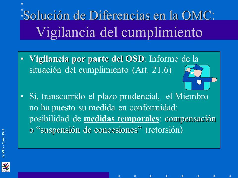 © WTO - OMC 2004 Solución de Diferencias en la OMC Solución de Diferencias en la OMC : Vigilancia del cumplimiento Vigilancia por parte del OSDVigilan