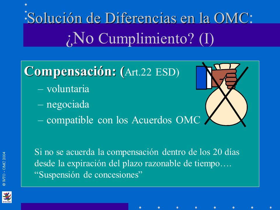 © WTO - OMC 2004 Solución de Diferencias en la OMC Solución de Diferencias en la OMC : ¿No Cumplimiento? (I) Compensación: ( Compensación: ( Art.22 ES