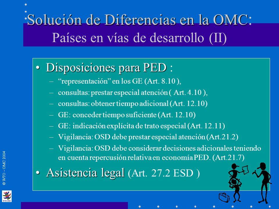 © WTO - OMC 2004 Solución de Diferencias en la OMC Solución de Diferencias en la OMC : Países en vías de desarrollo (II) Disposiciones para PEDDisposi