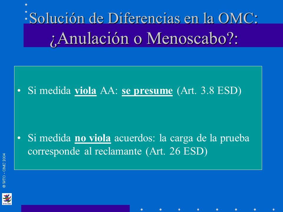 © WTO - OMC 2004 Solución de Diferencias en la OMC : ¿Anulación o Menoscabo?: Solución de Diferencias en la OMC : ¿Anulación o Menoscabo?: Si medida v
