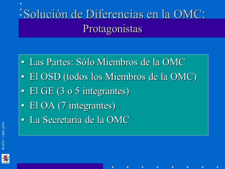 © WTO - OMC 2004 Solución de Diferencias en la OMC : Protagonistas Las Partes: Sólo Miembros de la OMCLas Partes: Sólo Miembros de la OMC El OSD (todo