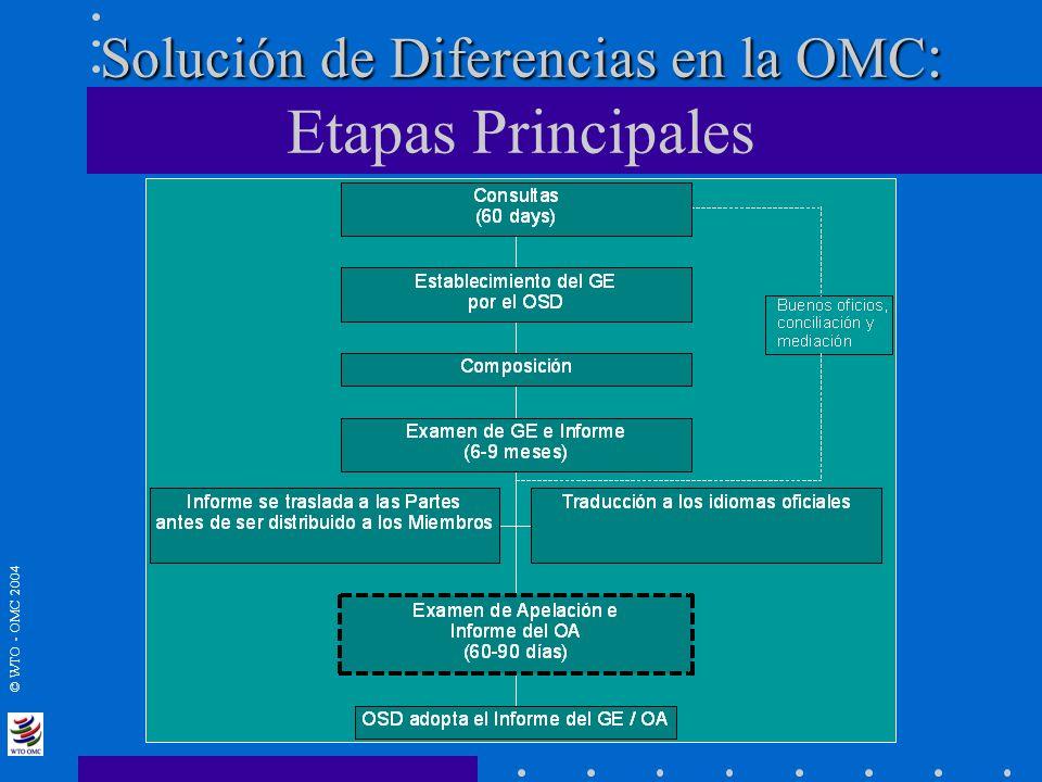 © WTO - OMC 2004 Solución de Diferencias en la OMC : Solución de Diferencias en la OMC : Etapas Principales