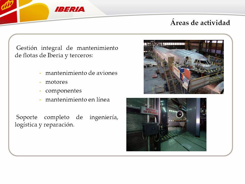 Áreas de actividad Gestión integral de mantenimiento de flotas de Iberia y terceros: -mantenimiento de aviones -motores -componentes -mantenimiento en