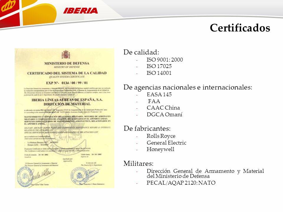 Certificados De calidad: - ISO 9001: 2000 - ISO 17025 - ISO 14001 De agencias nacionales e internacionales: - EASA 145 - FAA - CAAC China - DGCA Omaní